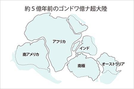 太古の昔に存在したと考えられる超大陸、ゴンドワナ大陸地殻形成も研究テーマのひとつ
