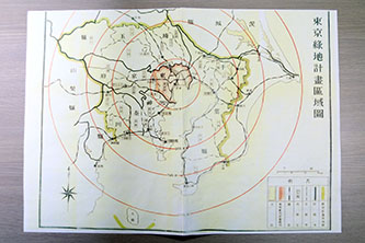 1920年代以降の東京の都市計画が伺える図